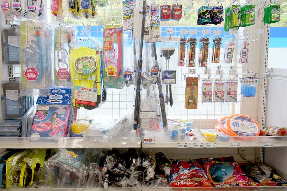 シュノーケリング用品、浮き輪、海遊びグッズ、釣り竿、冷凍の釣り餌