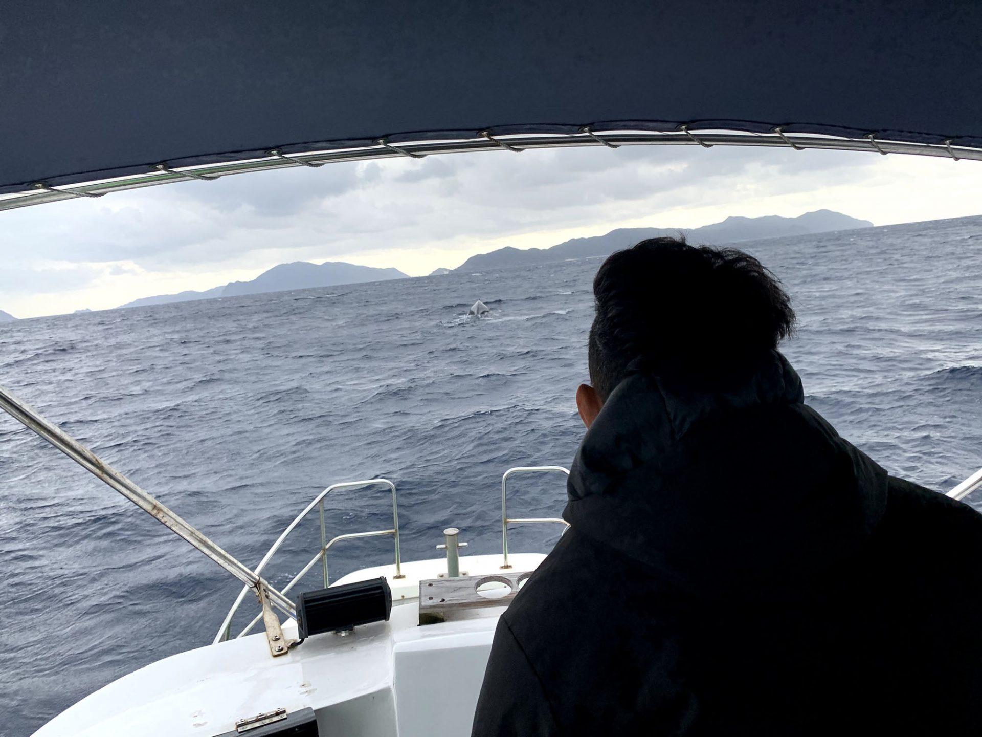 船の正面の1kmあたり離れた所で、大きな黒い物体がそそりあがり、沈んだと思ったら白い水柱が「ドカーン」と上がりました。