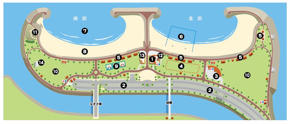 ビーチ全体の地図