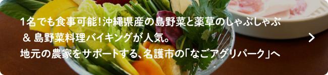 1名でも食事可能!沖縄県産の島野菜と薬草のしゃぶしゃぶ & 島野菜料理バイキングが人気。地元の農家をサポートする、名護市の「なごアグリパーク」へ